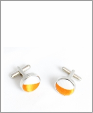 Silver Cufflinks with Orange and White Silver Lining (C330)