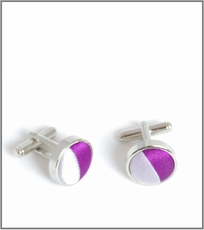 Silver Cufflinks with Purple and White Silk Lining (C451)
