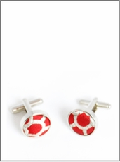 Silver Cufflinks with Red and Gold Silk Lining (C300)