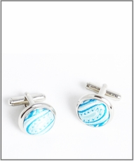 Silver Cufflinks with Turquoise Silk Lining (C399)