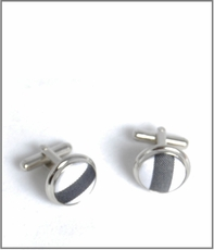 Silver Cufflinks with White and Charcoal Silk Lining (C112)