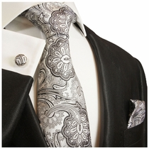 Silver Gray Silk Necktie Set by Paul Malone (585CH)