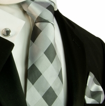 Silver Gray Squares . Paul Malone Silk Necktie Set (558CH)