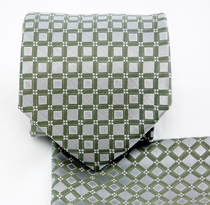 Silver Green Necktie and Pocket Square Set (Q580-F)