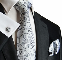 Silver-Grey Paul Malone Silk Necktie Set (1008CH)