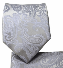 Silver Paisley Necktie and Pocket Square by Paul Malone
