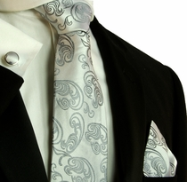 Silver Paisley Necktie Set by Paul Malone (573CH)