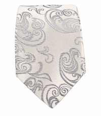 Silver Paisley Slim Silk Tie by Paul Malone