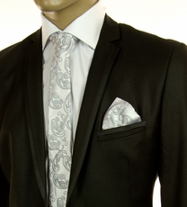 Silver Paisley SLIM Silk Tie Set by Paul Malone (Slim573H)