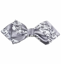 Silver Patterned Silk Bow Tie by Paul Malone Red Line