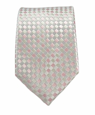 Silver Pink Slim Silk Necktie by Paul Malone