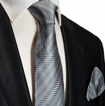 Silver Silk Necktie and Pocket Square . Paul Malone Red Line