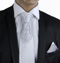 Silver Steven Land Silk Tie Set with Crystals (CR502)