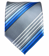 Silver, White and Blue Necktie