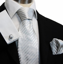 Silver-White Paul Malone Silk Necktie & Accessories (927CH)
