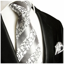 Silver, White Silk Tie and Pocket Square by Paul Malone Red Line