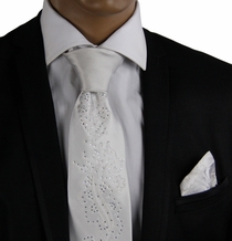 Silver-White Steven Land Necktie Set with Crystals (CR611)