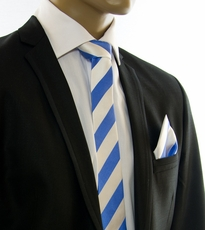 Sky Blue and White SLIM Tie Set by Paul Malone (Slim413H)