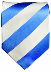 Sky Blue & White Paul Malone Club Silk Tie (413)