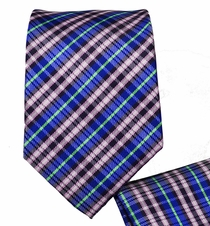 Slim Necktie and Pocket Square Set . Blue Plaid (Q128)