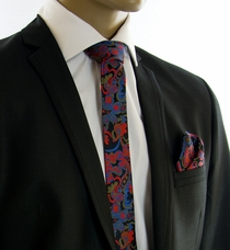 SLIM Silk Tie and Pocket Square by Paul Malone (Slim885H)