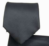 Solid Black Necktie and Pocket Square (Q100-B)