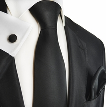 Black Silk Tie, Cufflinks and Pocket Square by Paul Malone
