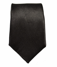 Solid Black Slim Silk Tie by Paul Malone