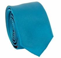 Solid Blue SLIM Necktie . 2.25' wide (Q3000-I)