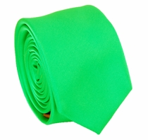 Solid Bright Green SLIM Necktie . 2.25' wide (Q3000-WW)