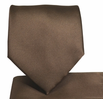 Solid Brown Necktie and Pocket Square (Q100-N)