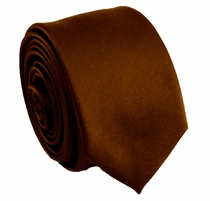 Solid Brown SLIM Necktie . 2.25' wide (Q3000-N)