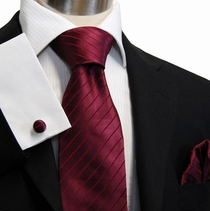 Solid Burgundy Paul Malone Silk Necktie Set (929CH)