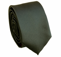 Solid Charcoal SLIM Necktie . 2.25' wide (Q3000-NN)