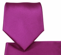 Solid Dahlia Necktie and Pocket Square Set