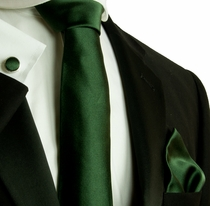 Solid Dark Green Silk Necktie Set by Paul Malone (599CH)