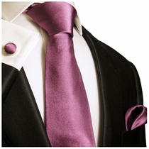 Solid Dark Lavender Silk Necktie Set by Paul Malone (790CH)