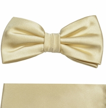 Solid Gold Bow Tie and Pocket Square Set by Paul Malone . 100% Silk (BT980H)