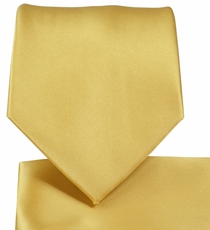 Solid Gold Necktie and Pocket Square Set (Q100-JJ)