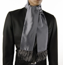 Solid Gray Men's Scarf, Satin Look (SC100-L)