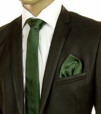 Solid Green SLIM Silk Tie Set by Paul Malone (Slim599H)