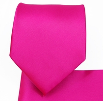 Solid Hot Pink Necktie and Pocket Square Set (Q100-K)