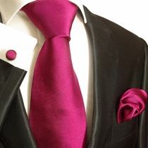 Solid Hot Pink Silk Tie Set by Paul Malone