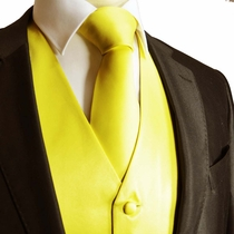 Solid Hot Yellow Tuxedo Vest and Necktie (V90)