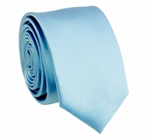 Solid Lite Blue SLIM Necktie . 2.25' wide (Q3000-R)