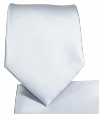 Solid Lite Silver Necktie and Pocket Square (Q100-E)