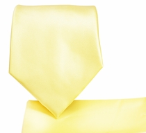 Solid Lite Yellow Necktie and Pocket Square (Q100-D)