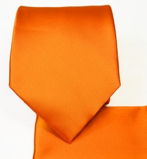 Solid Orange Necktie and Pocket Square Set (Q100-SS)