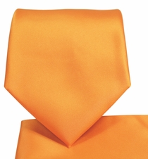 Solid Orange Necktie and Pocket Square Set (Q100-Y)