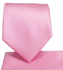 Solid Pink Necktie and Pocket Square Set (Q100-X)